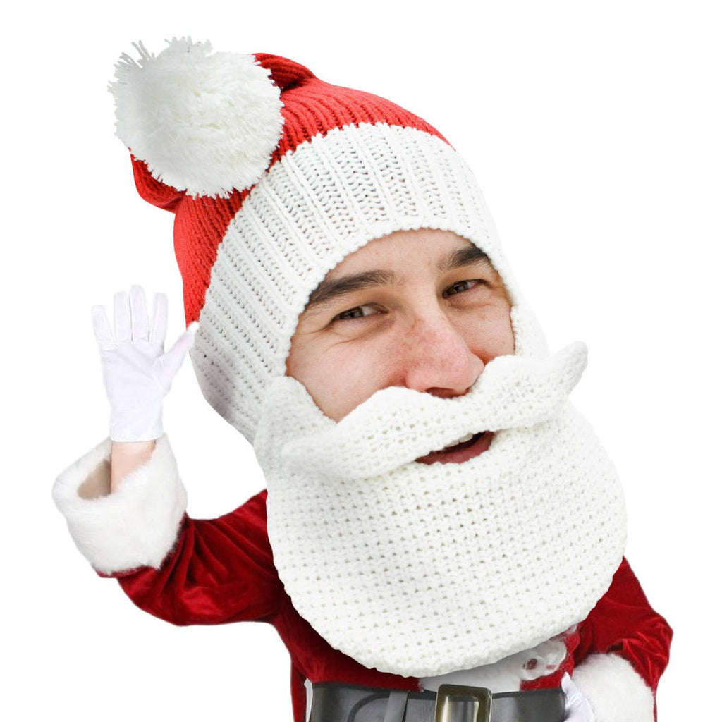 Santa knit beard hat christmas head
