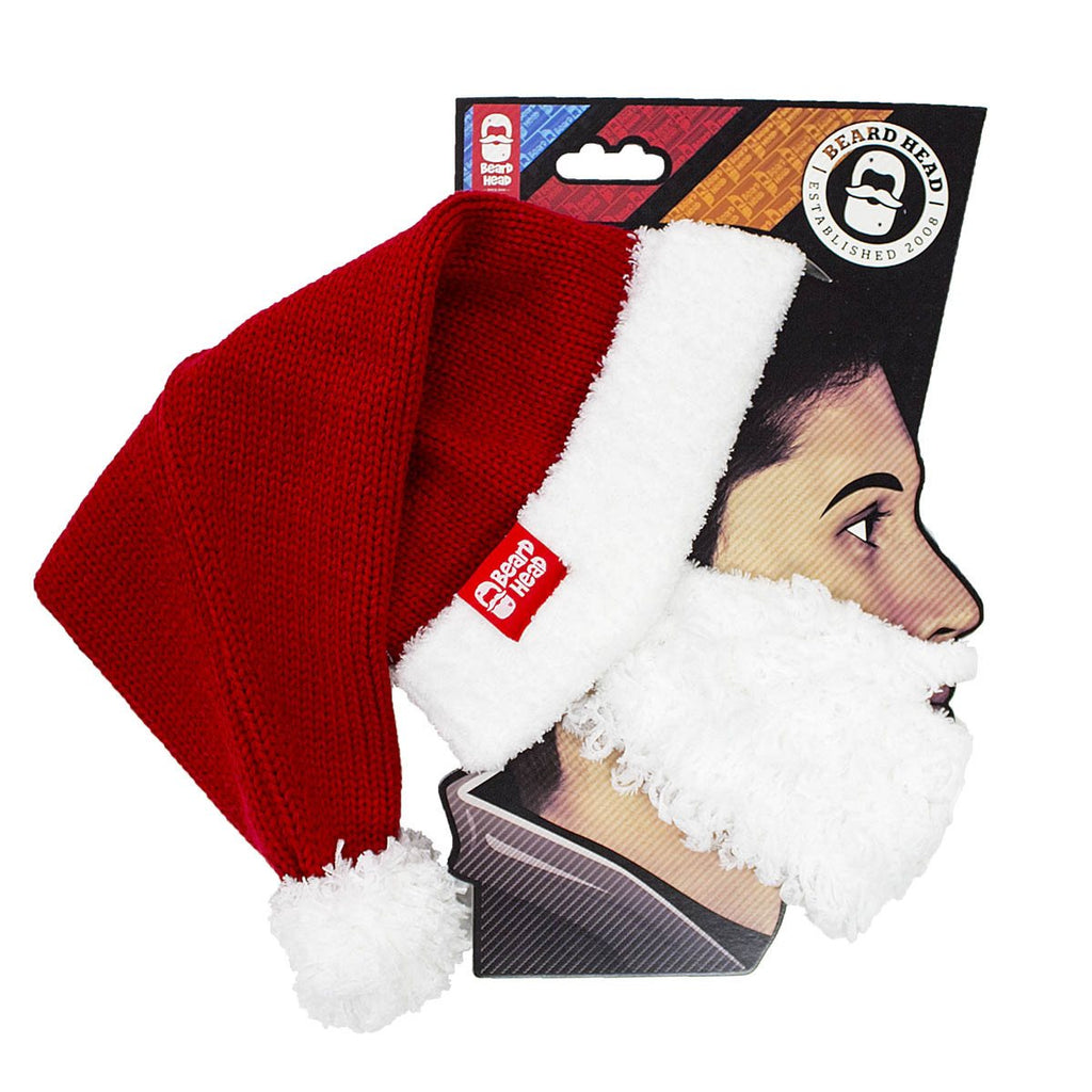 Santa Knit Beard Hat - Funny Christmas Beard Head