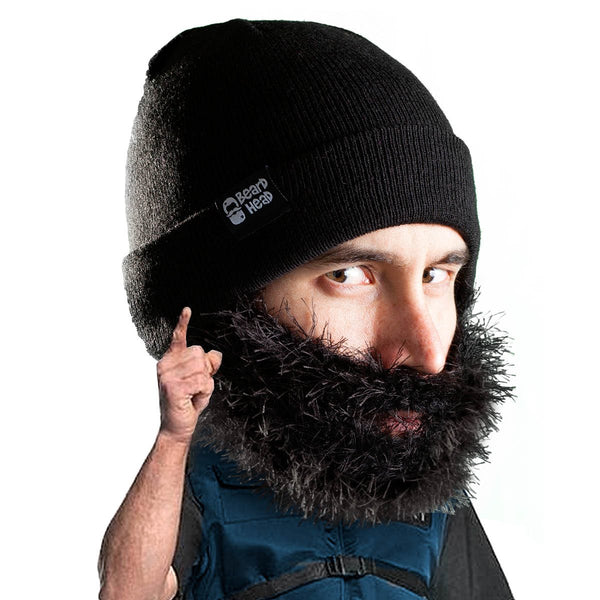 Beard Hat Beanie - Funny Knit Bushy Biker Beard Head