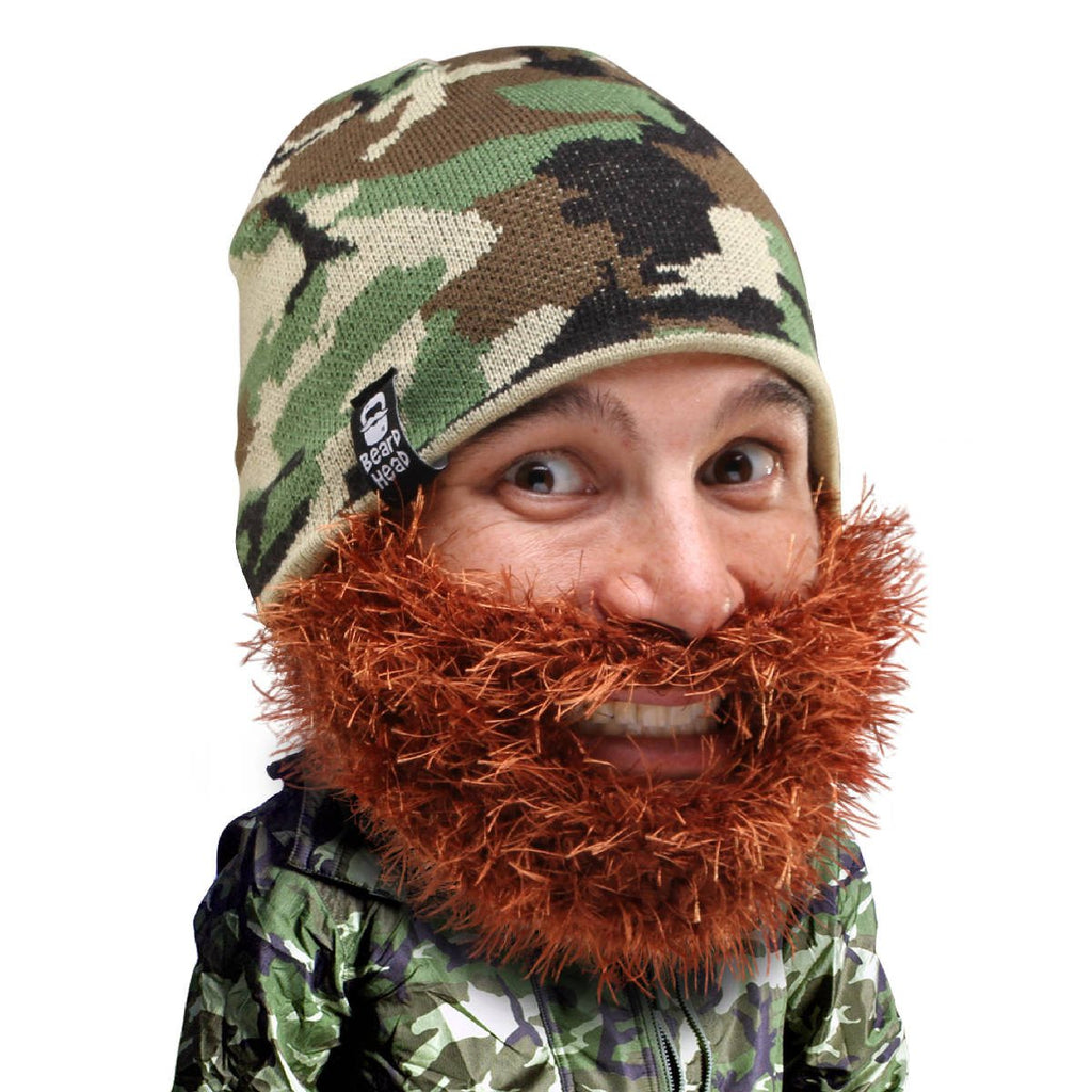 Camo Beard Hat Beanie - Funny Knit Bushy Duke Beard Head