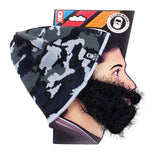 Grey Camo Beard Hat Beanie - Funny Knit Beard Head