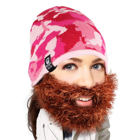 Pink Camo Beard Hat Beanie - Funny Knit Beard Head