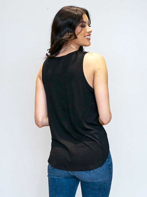 Black V-Neck Tank Top