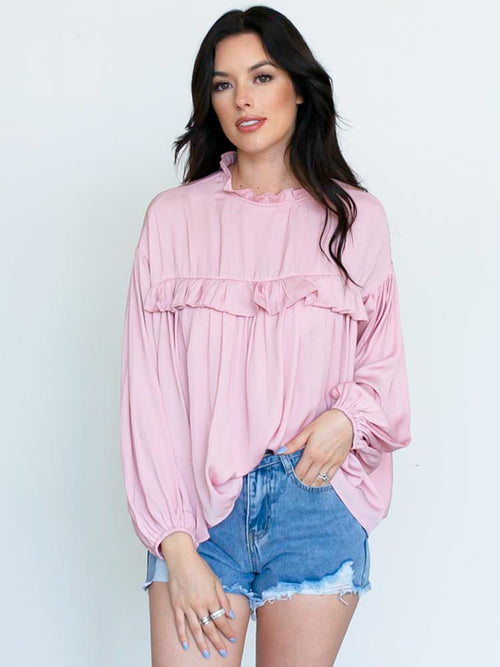 Blush Ruffle Peasant Blouse