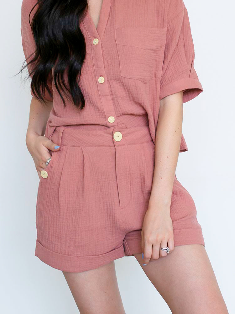 Mauve Shorts w/Button Details