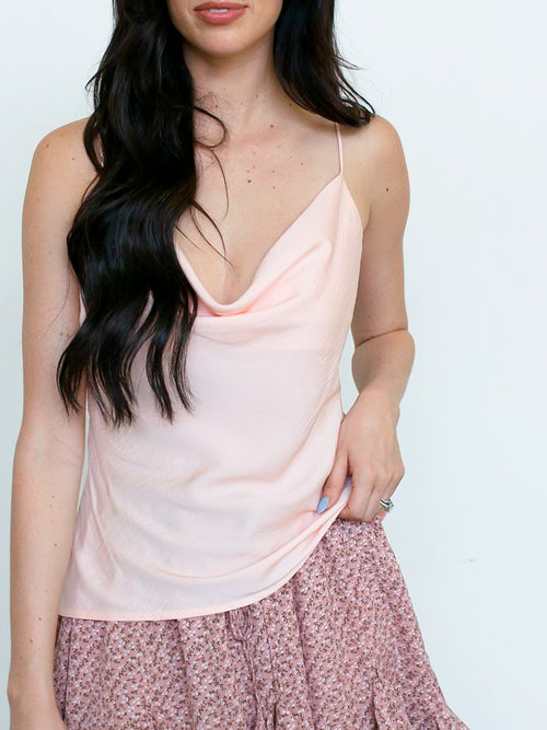 Blush Crepe Cowl-Neck Cami