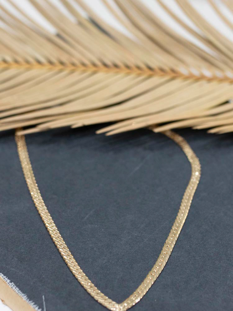 Gold V-Shape Snake Chain Necklace