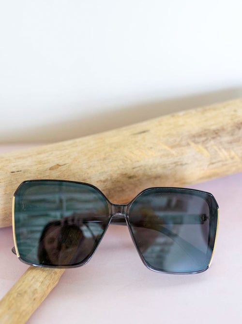 Black & Gold Oversized Square Sunglasses