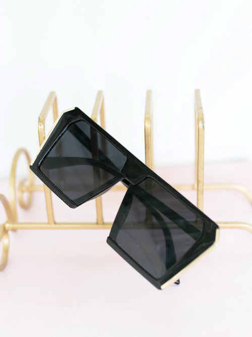 Black Oversized Retro Sunglasses