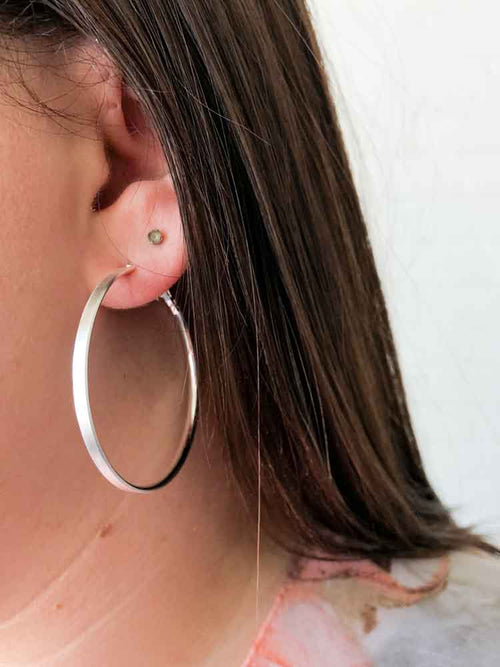 Classic Silver Matte Hoops