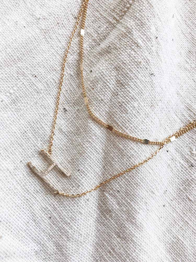 Gold Initial Double Chain Necklace