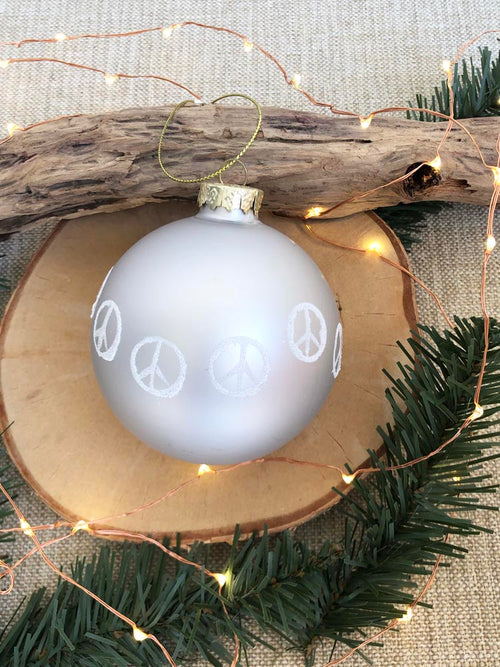 Matte Silver Peace Sign Ornament
