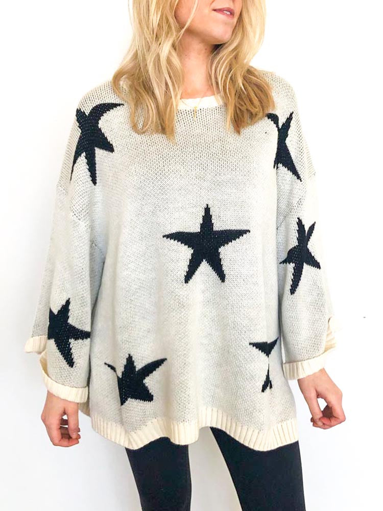 Cream Star Sweater (Straight + Plus Sizes)