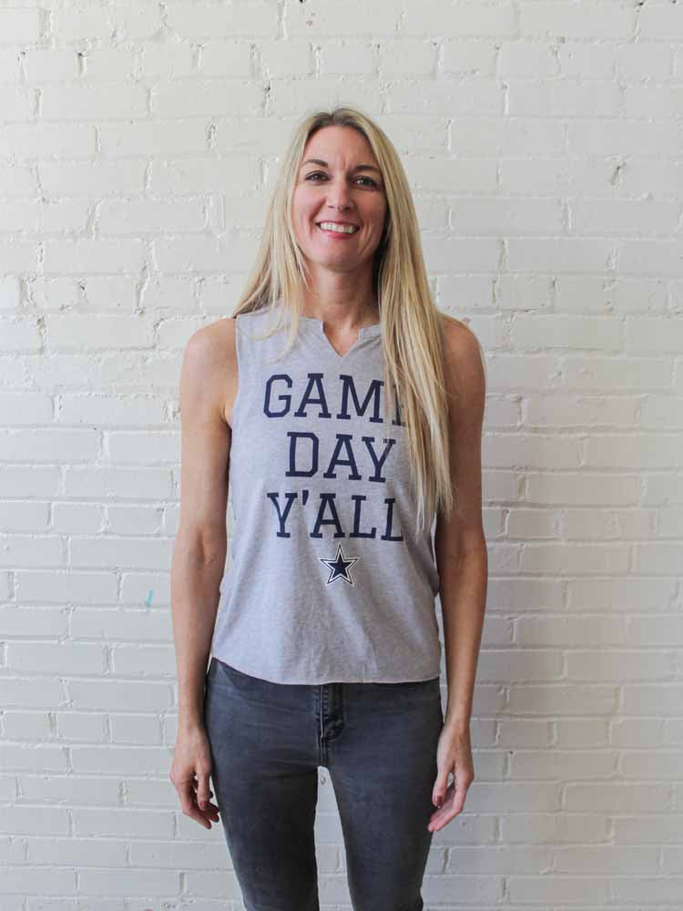 Game Day Y'All Gray Reimagined Tank