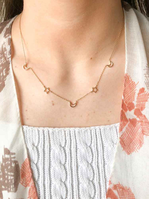 Dainty Star and Moon Choker