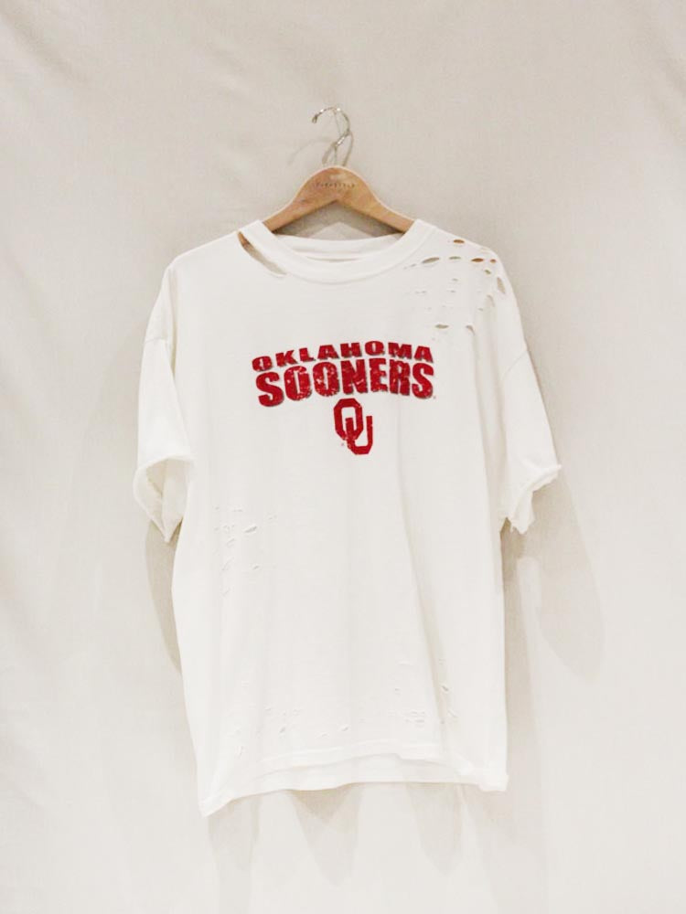 White Distressed Oklahoma Sooner Game Day Tee