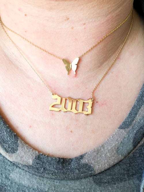 Gold 2003 Script Necklace