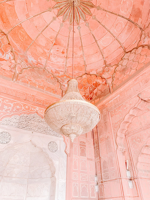 Pink Chandelier India Photo Print