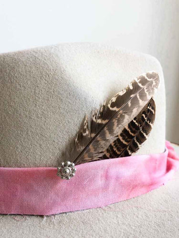 Vintage Matte Silver Peacock Feather Hat Pin