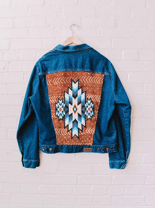 Geometric Hand Beaded Design on Vintage Mudcloth Denim Jacket
