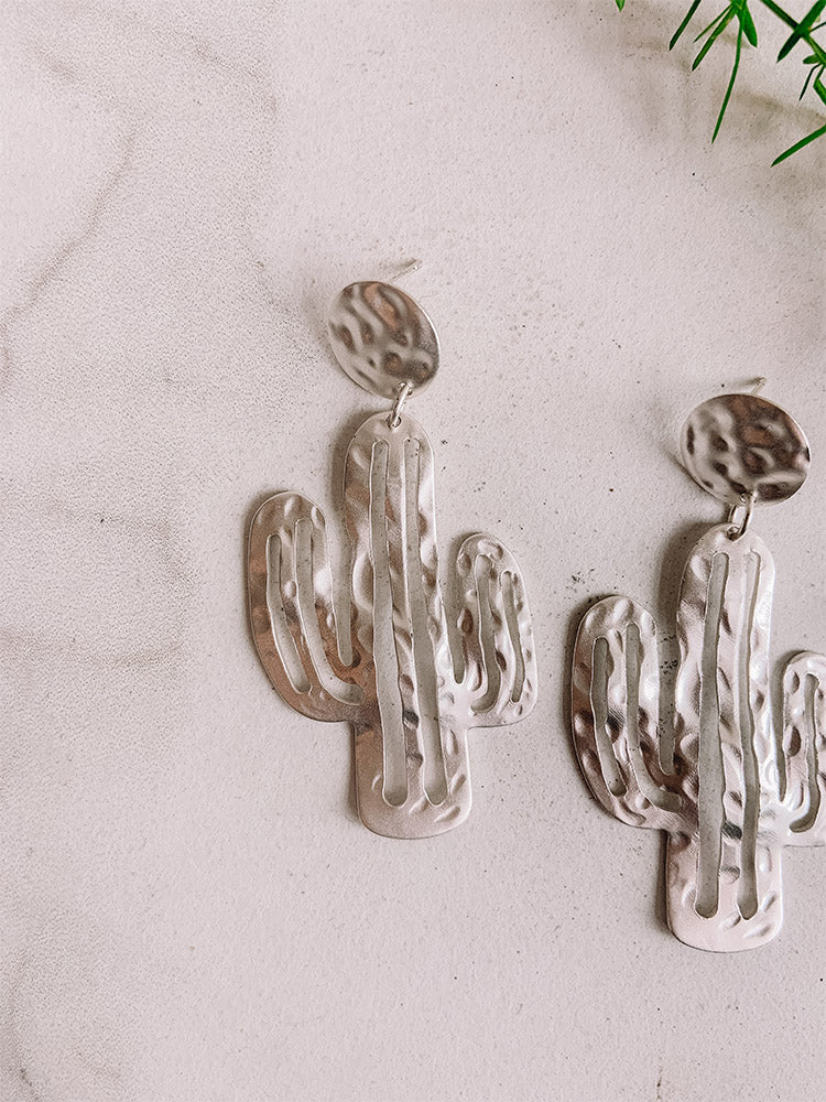 Matte Silver Cactus Earrings