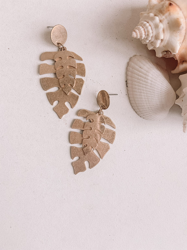 Matte Gold Layered Palm Leaf Earrings