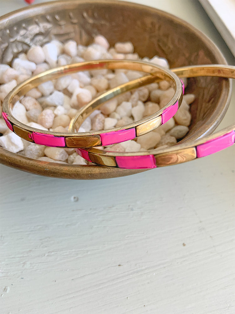 Skinny Hot Pink Resin and Brass Bangle