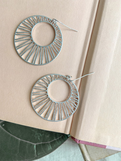 Matte Silver Circle Fan Earrings