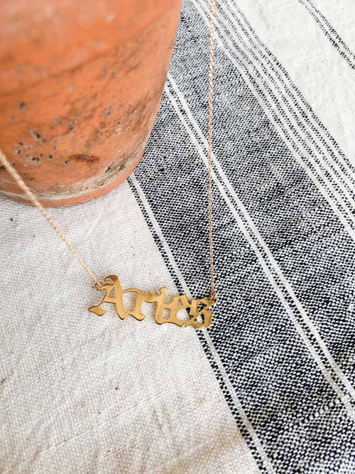 Aries Gothic Script Zodiac Necklace