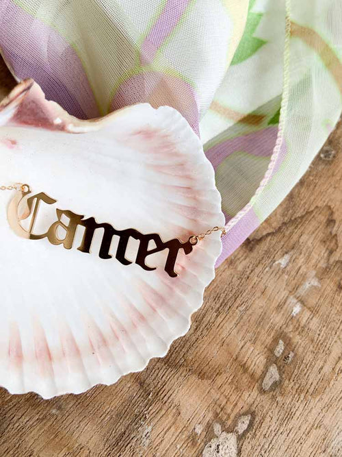 Cancer Gothic Script Zodiac Necklace