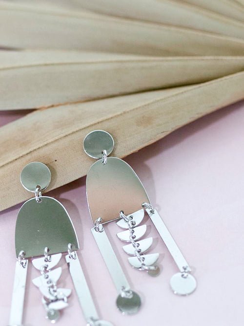 Silver Geometric Tiered Earrings
