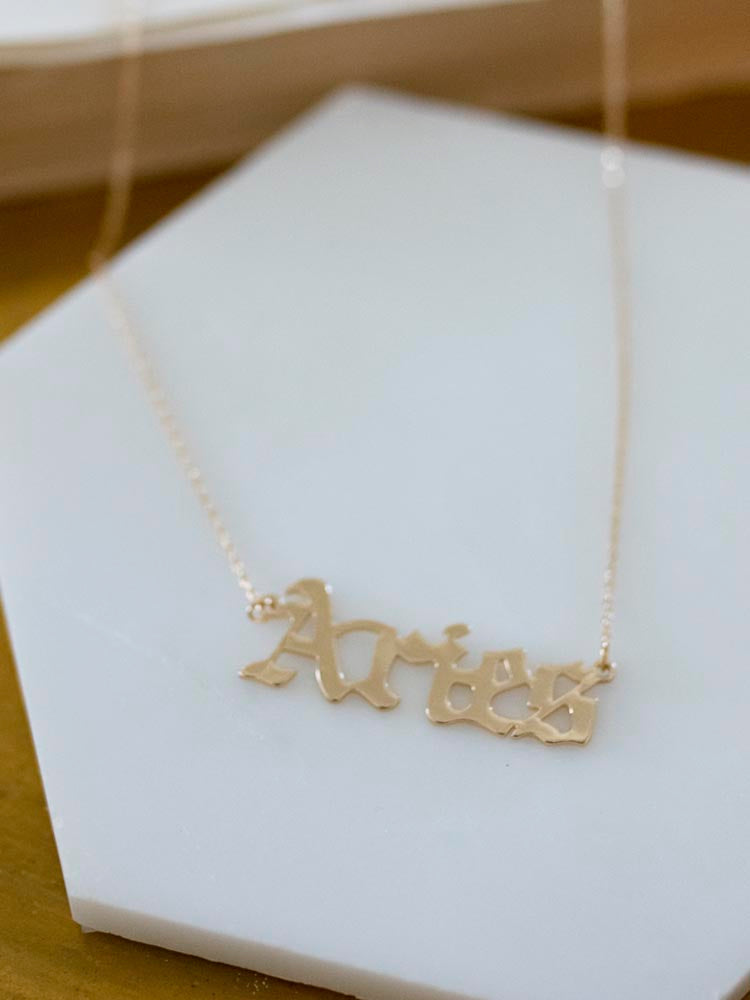 Aries Gold Gothic Script Zodiac Necklace