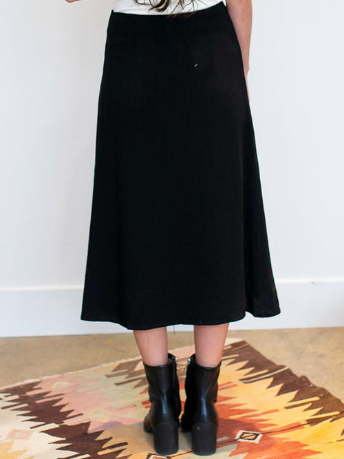 Black Woven Button Down Midi Skirt