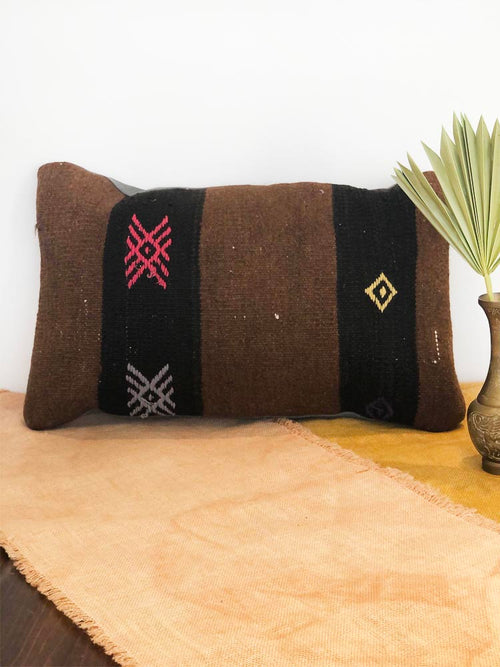 Brown and Pink Embroidered Turkish Kilim Pillow