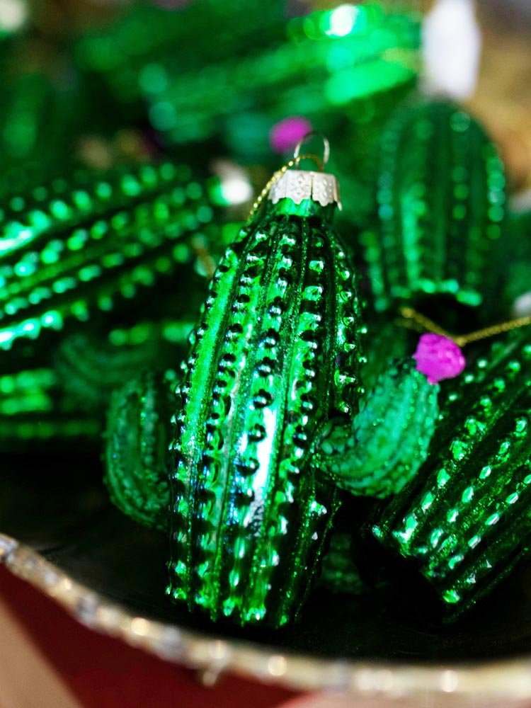 Green and Pink Cactus Ornament