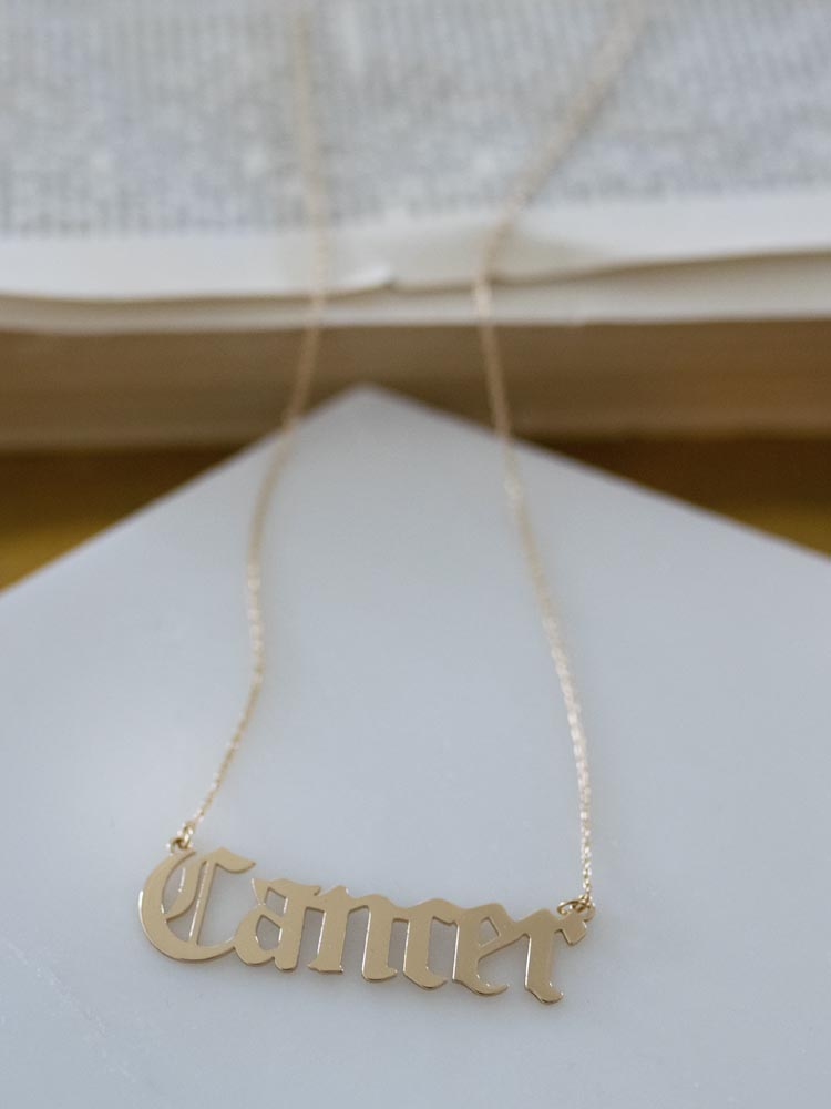 Cancer Gold Gothic Script Zodiac Necklace