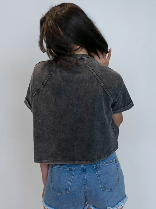 Black Washed Rolled Sleeve Top