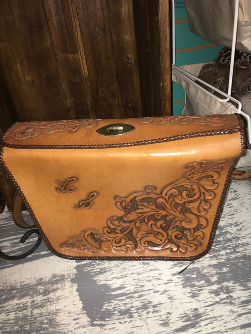 Vintage Tooled Leather Handbag Large