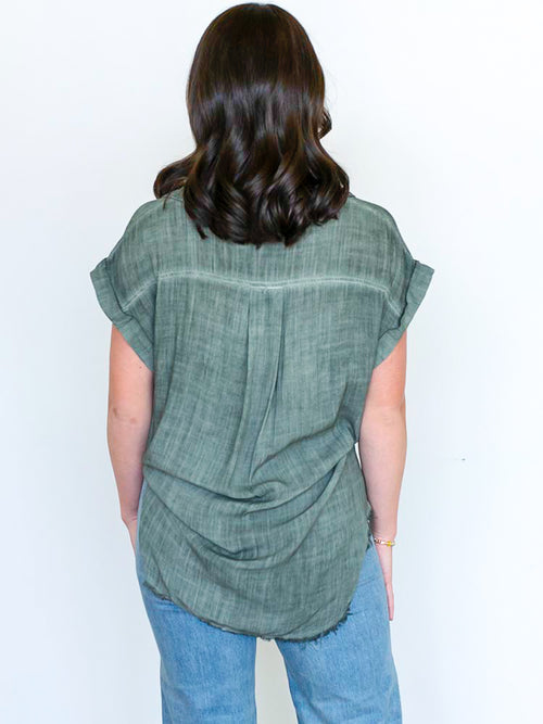 Olive Washed Frayed Hem Top (Straight + Plus Sizes Available)