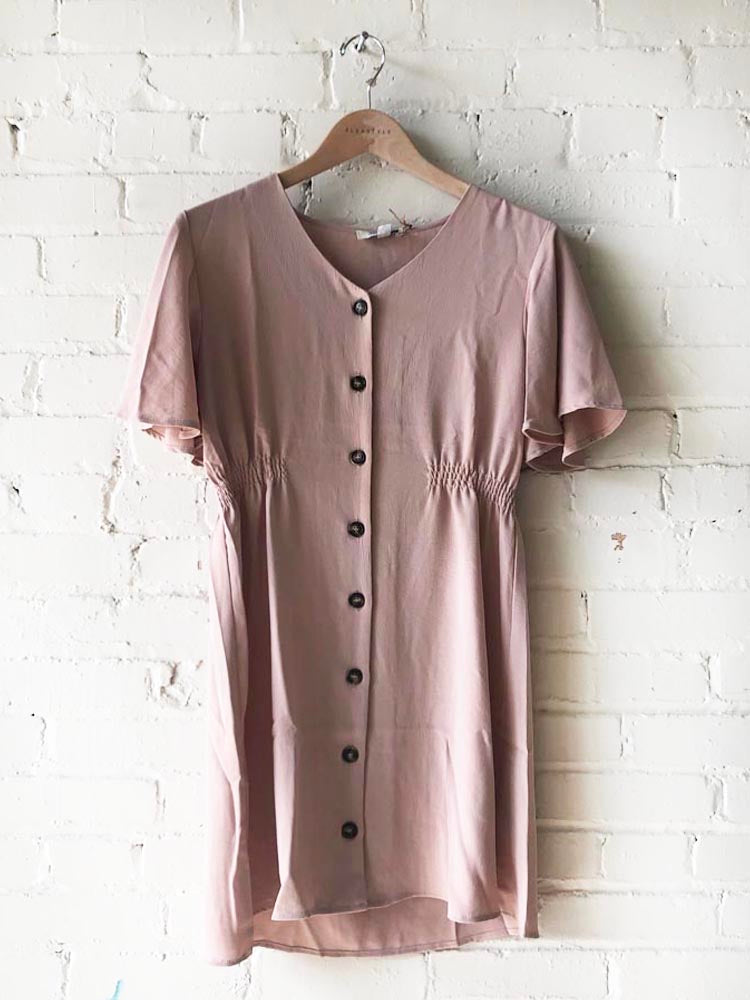 Taupe Half Flounce Sleeve Button Down Woven Dress with mocked Waistband