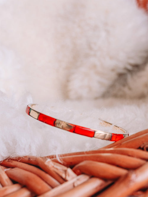Coral and Brass Skinny Bangle