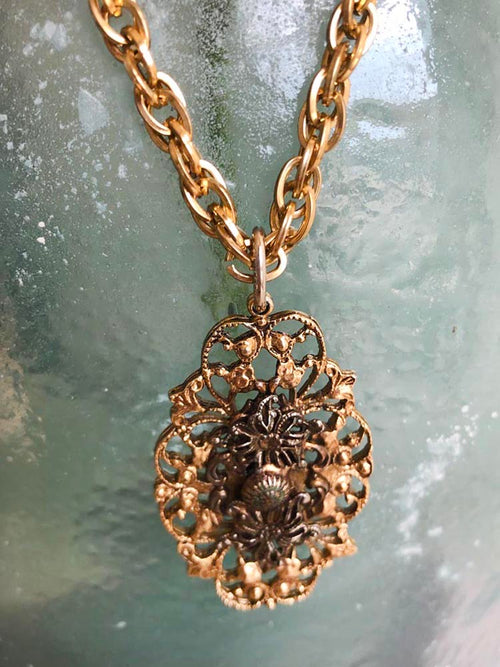 Vintage Gold Medallion Statement Necklace