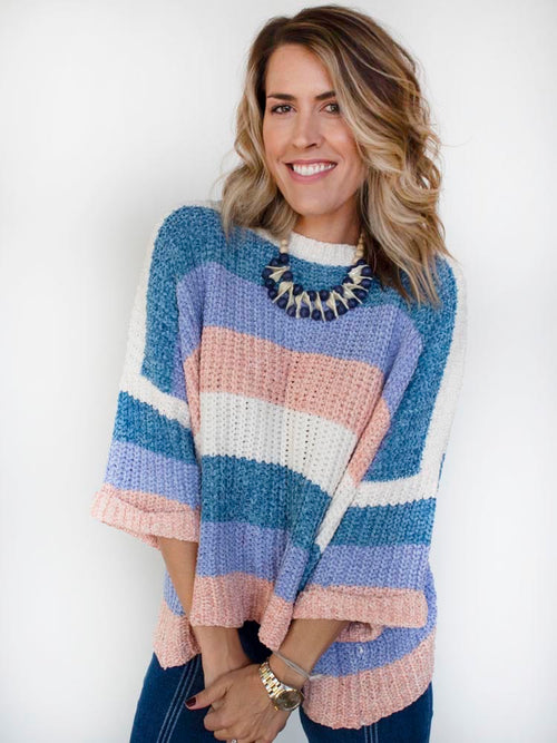 Teal/Blue Sleeve Color Blocked Knit Sweater with Cuffed