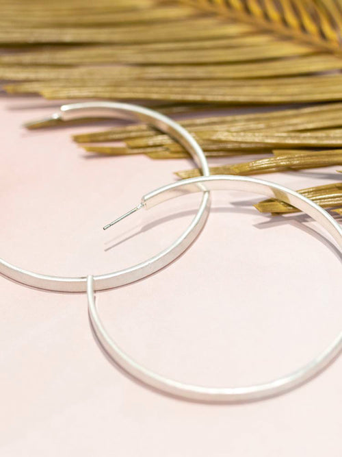 Large Matte Silver Hoop Earrings