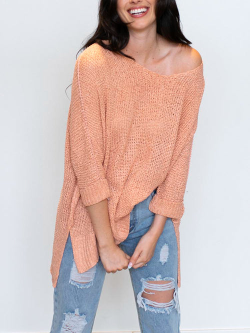 Clay Hi-Low Knit Sweater
