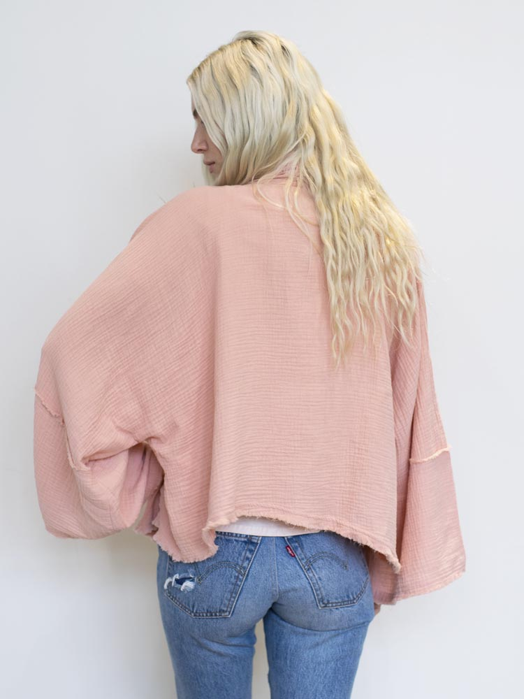 Front Tie Top with Frayed Hem (Ivory, Sage + Blush Available)