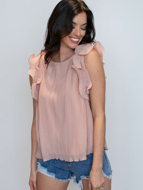 Blush Ruffle Pleated Top