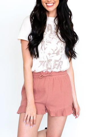 Raw Edge Pleated Shorts (Lilac + Black Available)