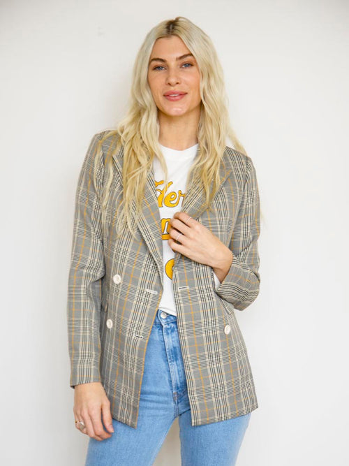 Classic Plaid Double Breasted Blazer