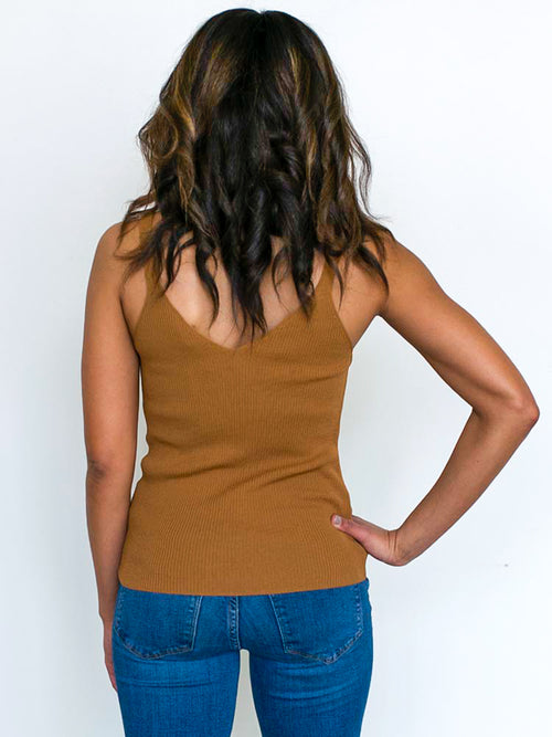 Camel Ribbed Tank Top